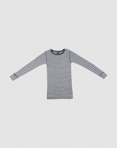 T-shirt à manches longues en laine bio et soie mélange de bleus/naturel