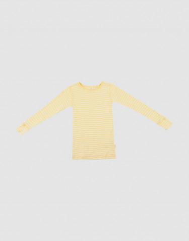 T-shirt à manches longues pour enfant, en laine bio et soie Jaune clair/naturel