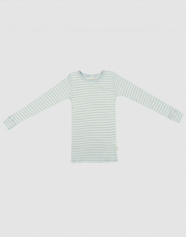 T-shirt à manches longues en laine bio et soie vert pastel/naturel