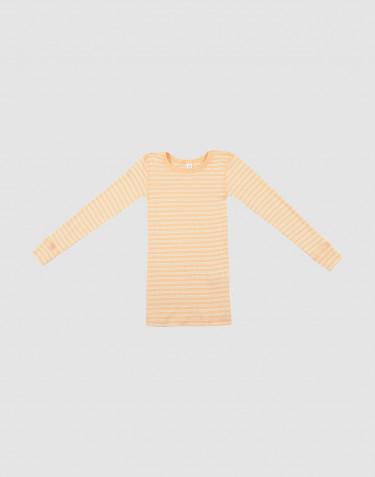 Tricot de peau rayé pour enfant, en laine bio et soie abricot/naturel