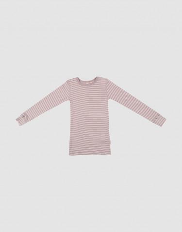 T-shirt à manches longues en laine et soie rose pastel/naturel