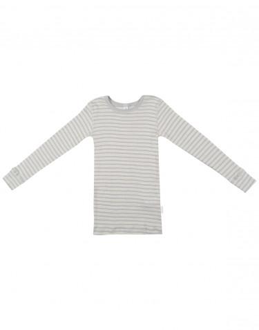 Tricot de peau à manches longues pour enfant, en laine bio et soie Gris/Nature
