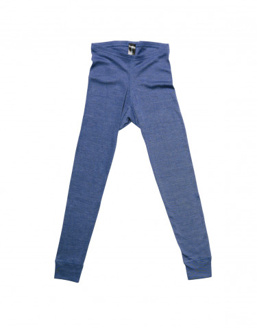 Legging pour enfant, en laine mérinos et soie Bleu jeans