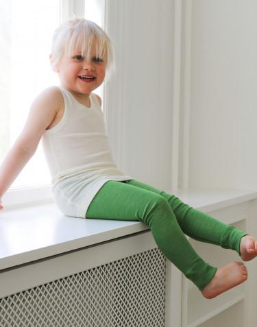 Legging pour enfant en laine bio et soie - vert pomme