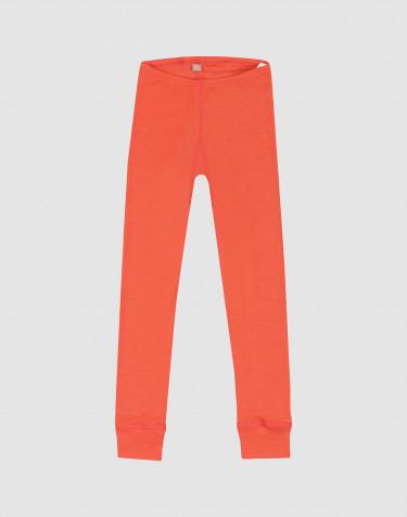 Legging pour enfant en laine bio et soie - rouge fraise
