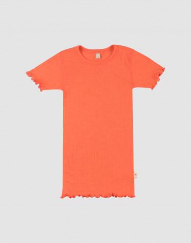 T-shirt effet pointelle en laine mérinos et soie pour enfant