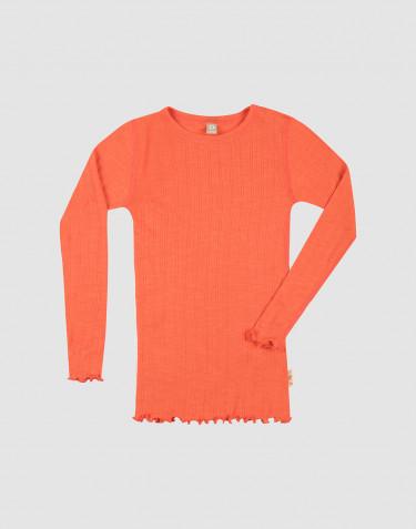 T-shirt à manches longues effet pointelle en laine mérinos et soie pour enfant
