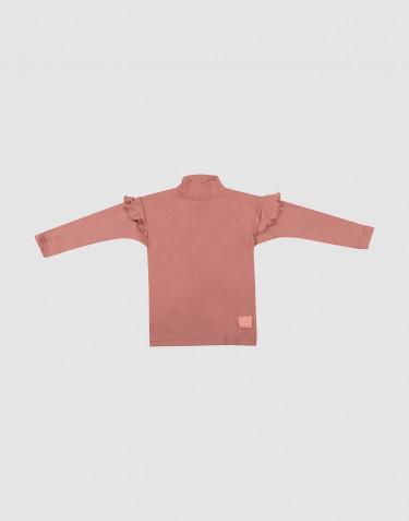 T-shirt à manches longues et volants pour enfant rose foncé