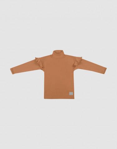 T-shirt à volants en laine caramel