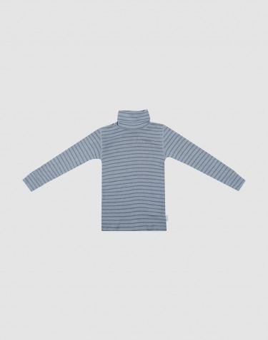 T-shirt à col roulé et manches longues en laine mérinos bleu rayé