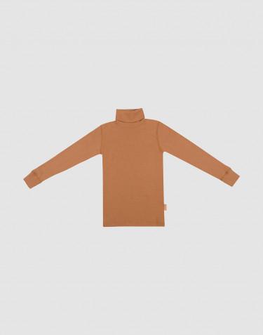 T-shirt à col roulé et manches longues en laine mérinos Caramel