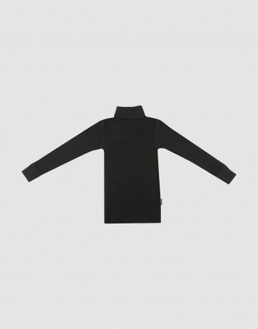 T-shirt à col roulé et manches longues en laine mérinos noir