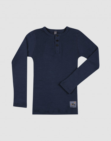 T-shirt à boutons en laine mérinos pour enfant