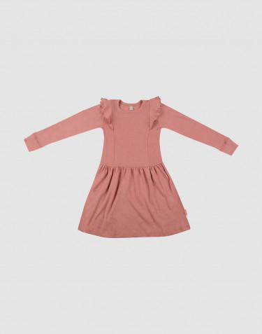 Robe en laine avec volants rose foncé