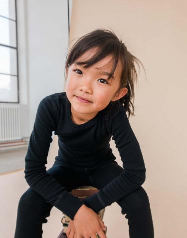 T-shirt à manches longues pour enfant - laine mérinos bio noir