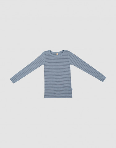 T-shirt à manches longues en laine bleu rayé