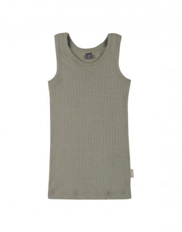 Sous-vêtement pour enfant, en laine à côtes larges Vert olive