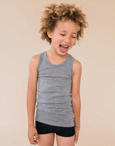 Sous-vêtement pour enfant, en laine à côtes larges Mélange de gris