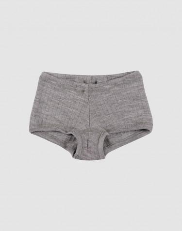 Boxer pour fille, en laine à côtes larges Mélange de gris