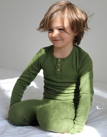 T-shirt à col boutonné pour enfant en laine mérinos