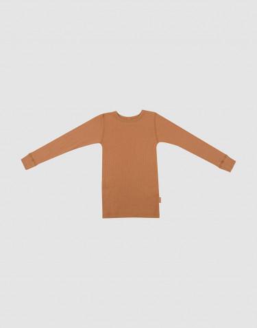 T-shirt à manches longues en laine côtelée caramel.