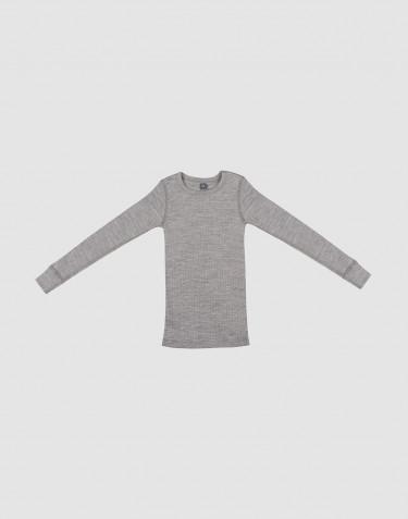 Tricot de peau à manches longues pour enfant, en laine à côtes larges Mélange de gris