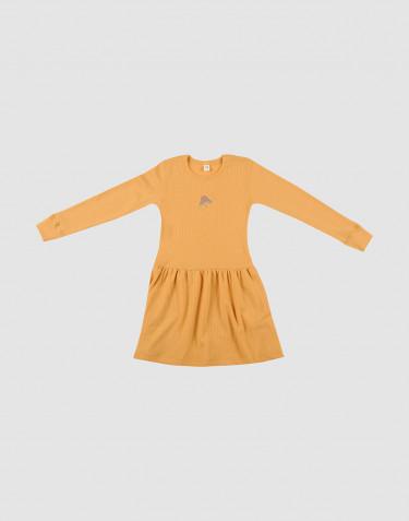 Robe en laine tricotée côtelée Jaune