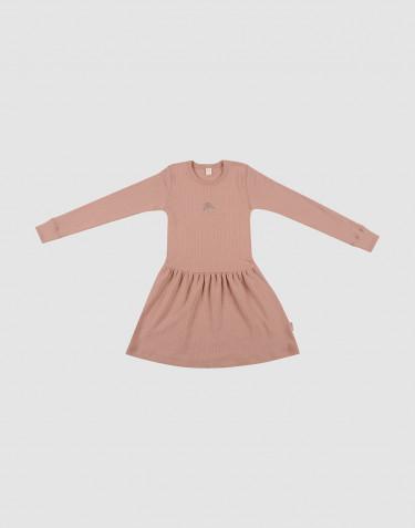 Robe en laine tricotée côtelée Rose poudré