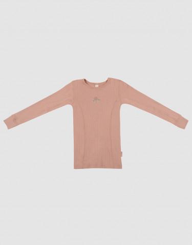 Tricot de peau à manches longues pour enfant, en laine tricotée côtelée Rose poudré