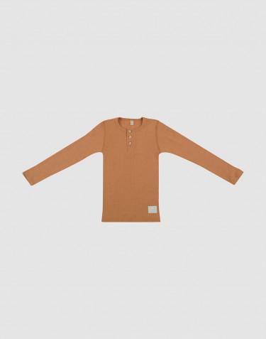 T-shirt à boutons en laine côtelée caramel