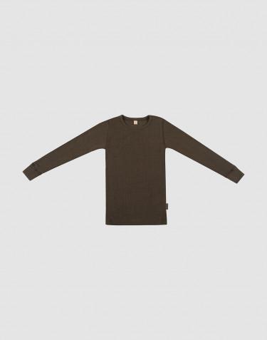T-shirt à manches longues en laine à côtes larges chocolat noir