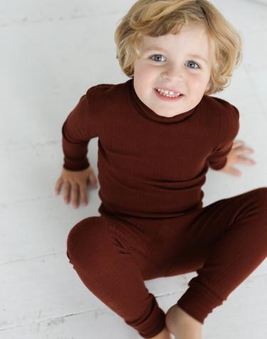 T-shirt à col montant en laine mérinos pour enfant