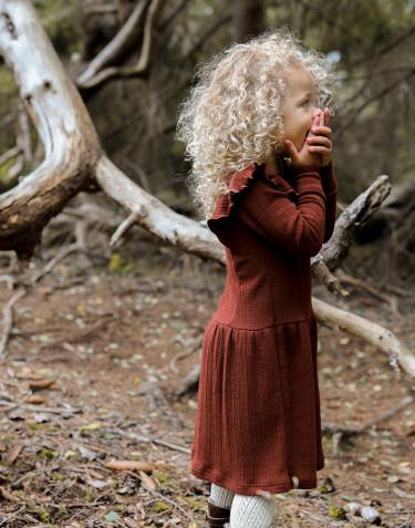 Robe à volants pour enfant en laine mérinos