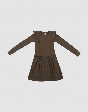 Robe à volants en laine côtelée chocolat noir