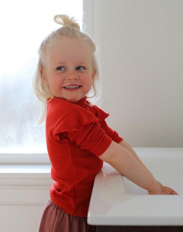 T-shirt à volants en laine mérinos pour enfant