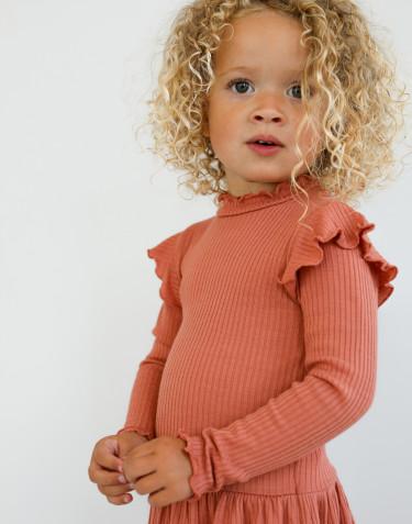 Robe à volants en laine mérinos pour enfant