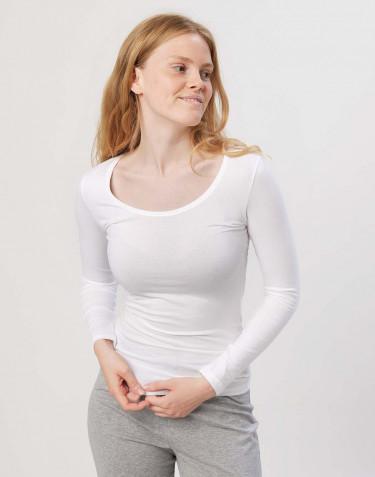 Tee-shirt à manches longues en coton pour femme Blanc