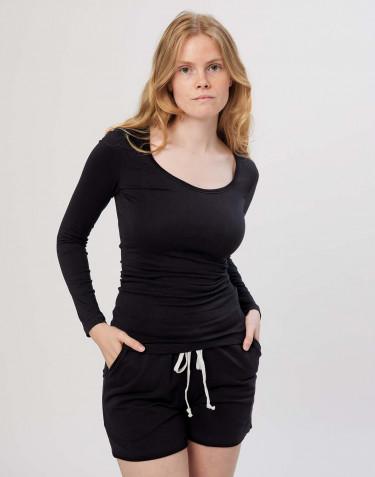 Tee-shirt à manches longues en coton pour femme Noir
