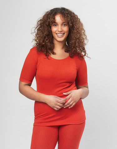 T-shirt pour femme en laine mérinos côtelée - Rouge