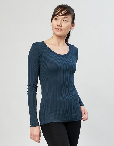 Tricot de peau pour femme, en laine mérinos côtelée bleu pétrole
