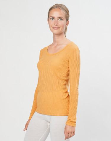 Tricot de peau pour femme en laine mérinos côtelée jaune