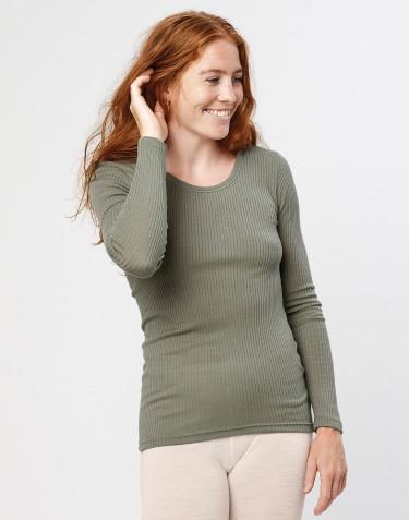 Tricot de peau à manches longues, en laine mérinos, pour femme Vert olive