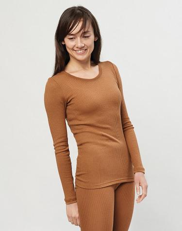 Tricot de peau pour femme, en laine mérinos côtelée Caramel