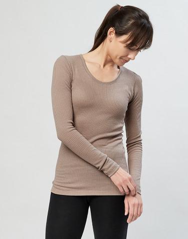 Tricot de peau pour femme, en laine mérinos côtelée Sable