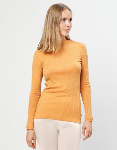 Tricot de peau à col montant laine mérinos côtelée jaune