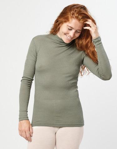 Tricot de peau à col haut et à manches longues, en laine mérinos côtelée Vert olive