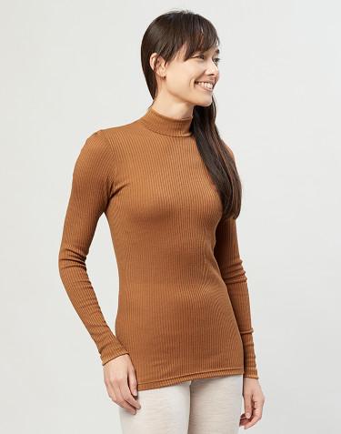 Tricot de peau à col haut et à manches longues, en laine mérinos côtelée caramel