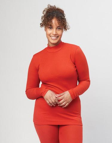 Haut à col montant pour femme en laine mérinos - rouge