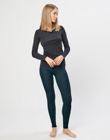 Legging en laine mérinos côtelée pour femme Bleu pétrole