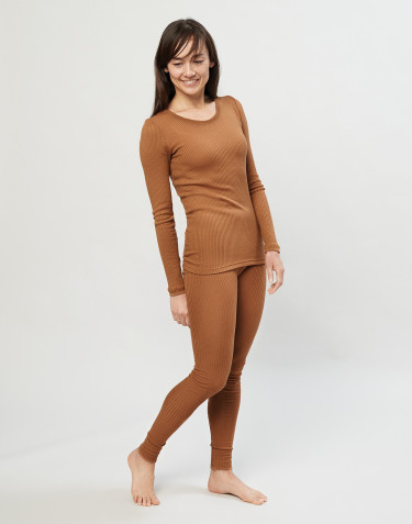 Legging en laine mérinos côtelée pour femme Caramel
